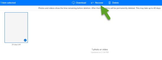 Recover deleted photos from the iCloud