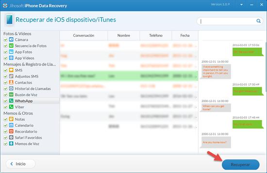 Instalación de un software para espiar conversaciones de WhatsApp borradas en un iPhone