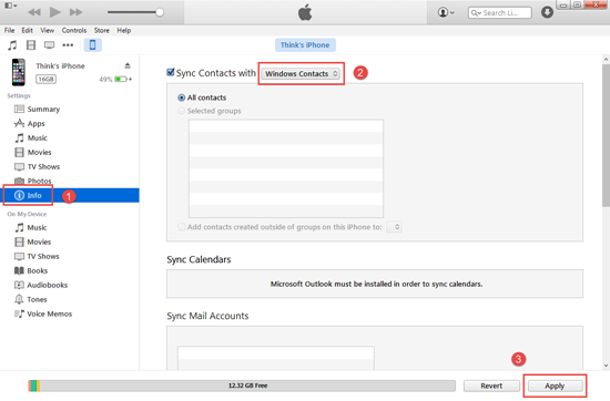 iTunes y Gmail (Red requerido)