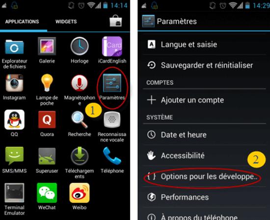 Mesures pour permettre le débogage USB sur Android 4.0-4.1
