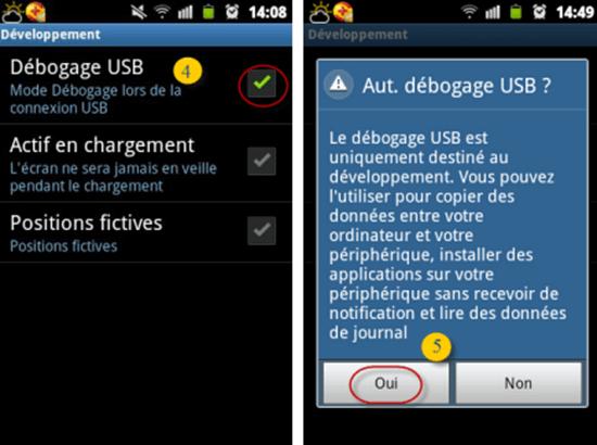 Mesures pour permettre le débogage USB sur Android 1.6-3.2