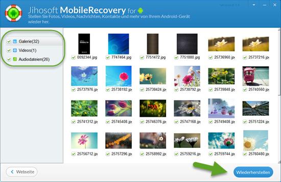 Wie kann man gelöschte Fotos von Android wiederherstellen