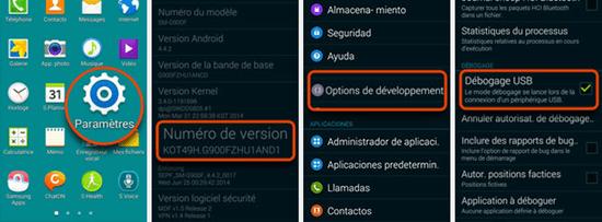 Étapes pour activer le débogage USB sur Android 4.4 et supérieur