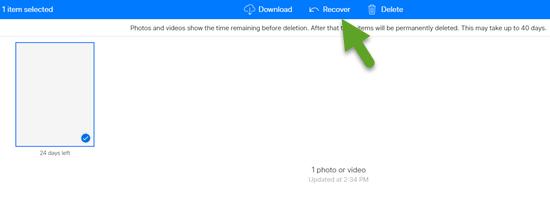 Restorez les photos supprimées d'iCloud