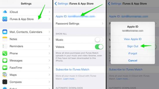 Abmelden und erneut im App Store anmelden