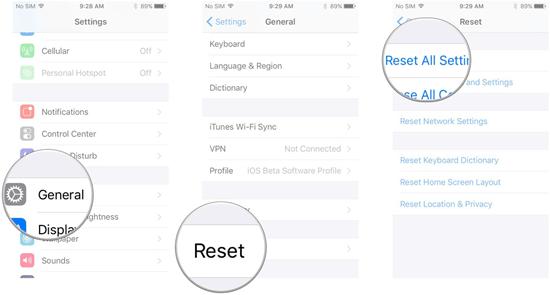 Restablece configuración de red / restablece todas las configuraciones
