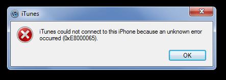 iTunes Fehlercodes 0xE8000065