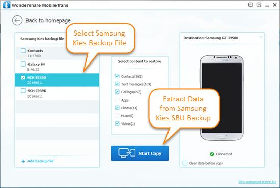 Extrahieren Sie Daten von Samsung Kies SBU Backup