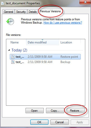 Recover Deleted Photos on PC from Previous Version