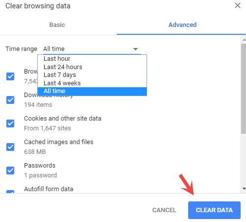 Reinigen Sie die Cache- und Verlaufsdaten in Ihrem Browser