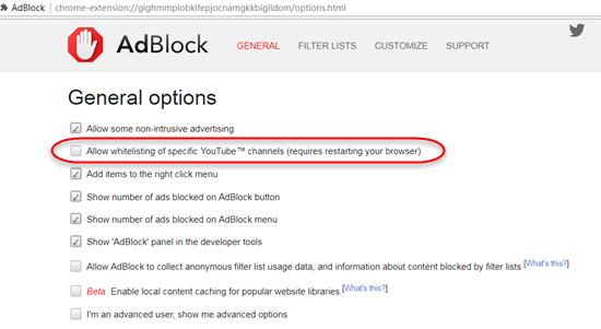 Deaktivieren Sie die Whitelist des YouTube-Kanals in Chrome