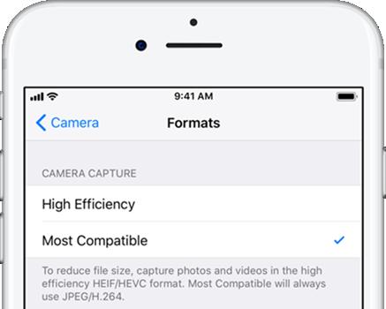 Cómo tomar fotos en el formato JPEG en iOS 11?