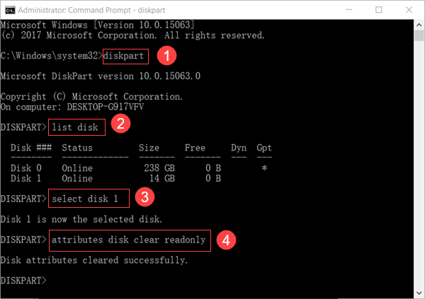 Remove Write Protection from USB with Diskpart Command Line