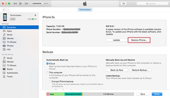 Restaure su iPhone en iTunes