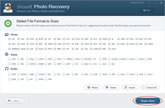 Scan and preview deleted photos.