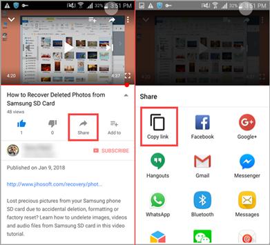 Compartir video de YouTube en un momento específico desde la aplicación