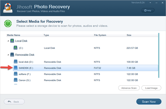 Select the SanDisk SD card from which you would like to recover photos.