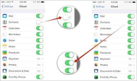 Deaktivieren und aktivieren Sie die Option Kontakte in iCloud