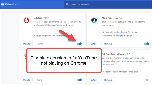 Disable Add-ons on Chrome