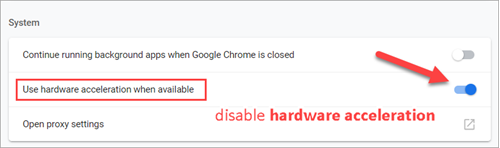 Disable hardware acceleration on Chrome