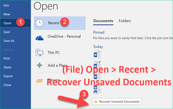 Recover Unsaved Word Document with AutoRecover Option