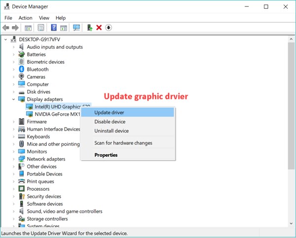 Update graphic driver