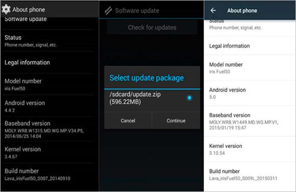 Die Android-Version mit dem Aktualisierungspaket aktualisieren
