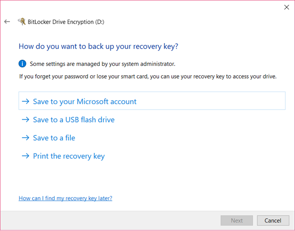 back up your recovery key