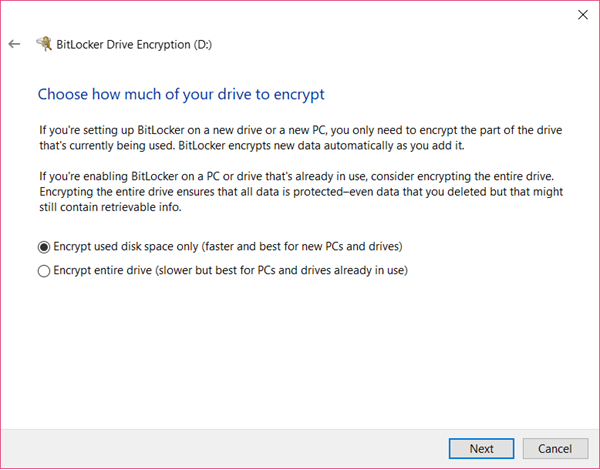 Encrypt used disk space or to Encrypt entire drive