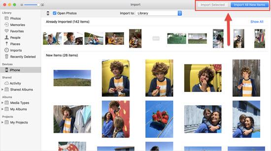Importer des photos depuis un iPhone via l'application Photos sur Mac / Win 10