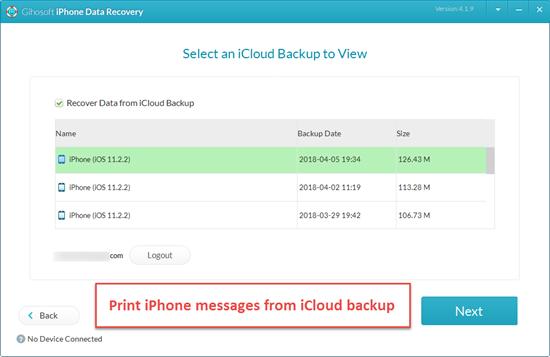 Imprimer des messages iPhone dans la sauvegarde iCloud / iTunes