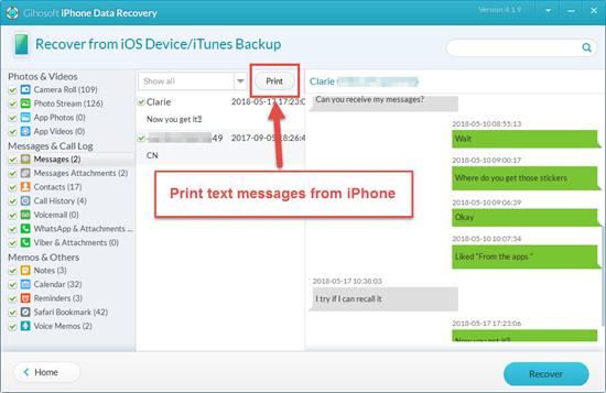 Imprimer des messages texte iPhone avec l'outil de récupération iPhone
