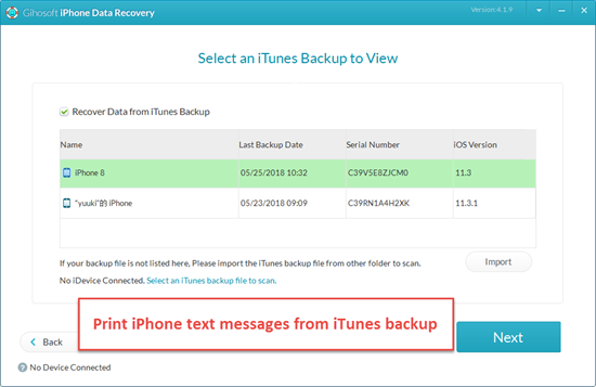 Imprima mensajes de iPhone en iCloud / iTunes copia de seguridad