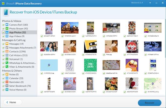 transférer des photos avec Jihosoft iPhone Recovery