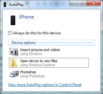 transférer des photos iPhone via Windows AutoPlay