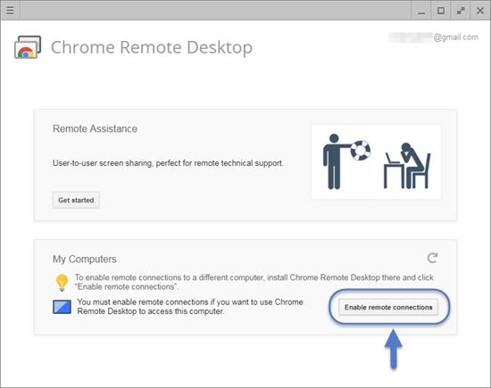 Utilisation du service de bureau à distance Chrome.