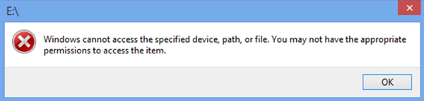 Windows Cannot Access the Specified Device, Path or File.
