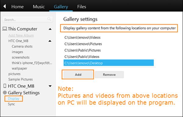 Anzeigen und Verwalten der Daten von PC und HTC