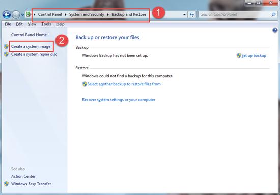 Fonctions de sauvegarde Windows intégrées