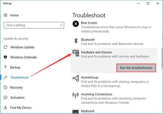 Ejecutar el Troubleshooter de hardware y dispositivo