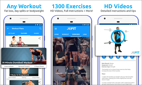 JEFIT Workout Tracker is one of the best Android Fitness and Workout Apps for Bodybuilding.