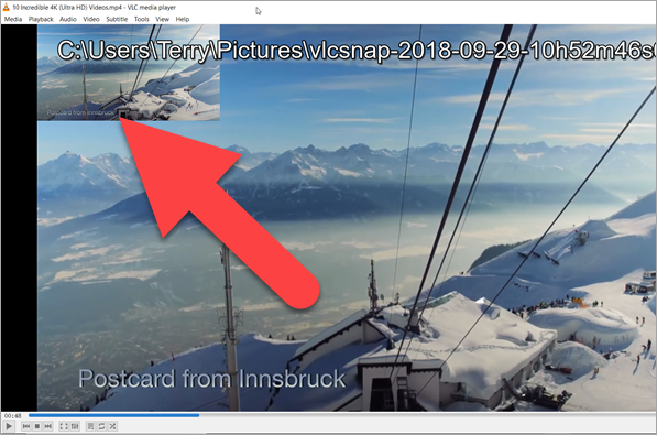 Take Picture from Video with VLC Media Player