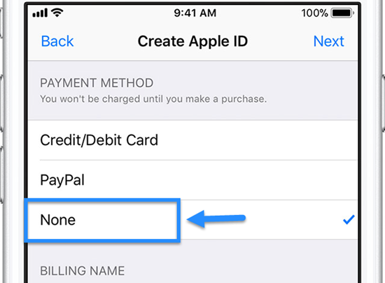 Create an Apple ID on an iOS device without a credit card