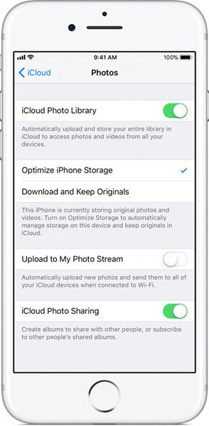 Detener el servicio de biblioteca de fotos de iCloud