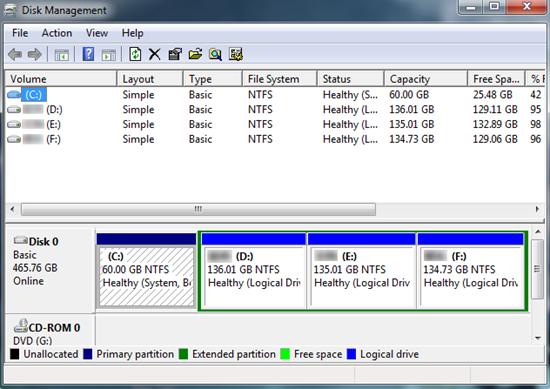 Première option: Utiliser le gestionnaire de disque