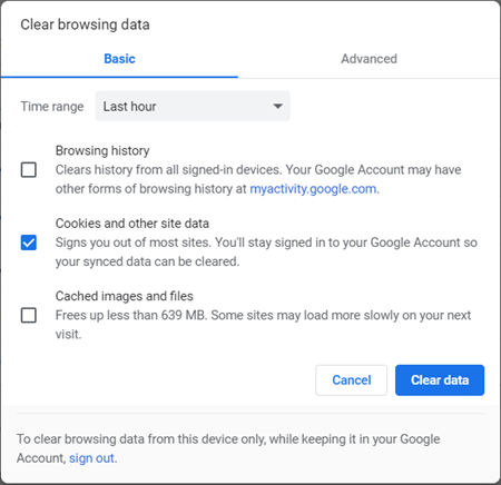 """Fix YouTube """"An error occurred"""" by Clear Browsing Data"""