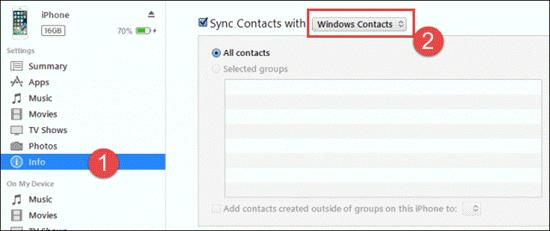 Drucken von Kontakten mit iTunes Syncing