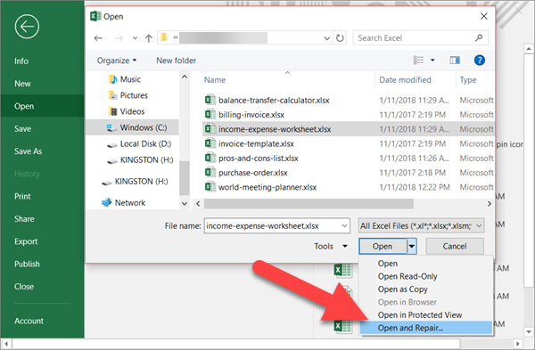 Repair Corrupted Excel File Free with Microsoft In-built Feature
