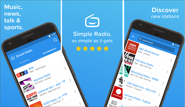 Simple Radio is best Radio Apps for Android to Stream Online Music.