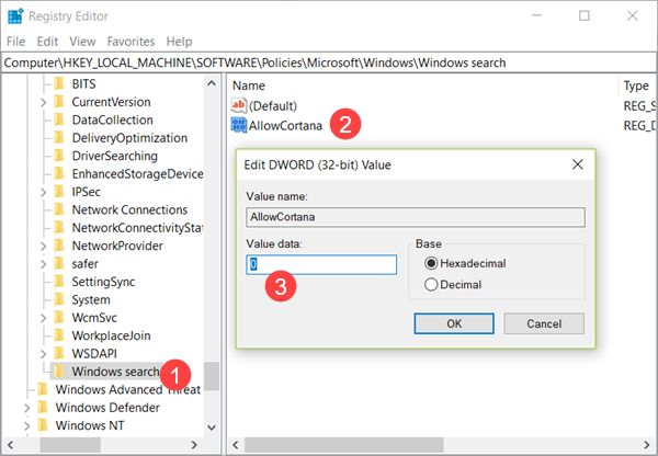 Deactivate Cortana in Windows 10 with Registry Editor